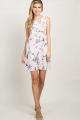 Pink Floral Crisscross Pleated Back Maternity Dress