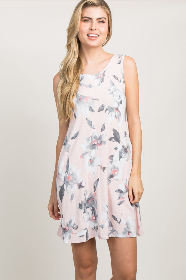 Pink Floral Crisscross Pleated Back Dress