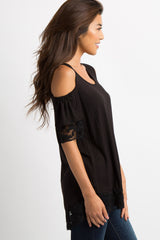 Black Lace Trim Cold Shoulder Top