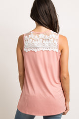 Salmon Lace Accent Top