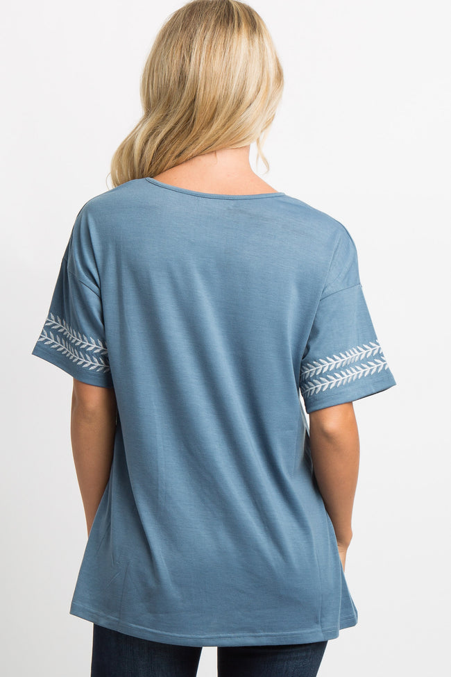 Blue Leaf Embroidery Top