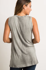 Charcoal Tie Dye Sleeveless Top