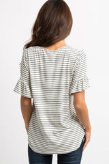 Ivory Striped Ruffle Sleeve Tie Front Top