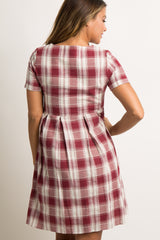 Burgundy Plaid Pleated Maternity Dress