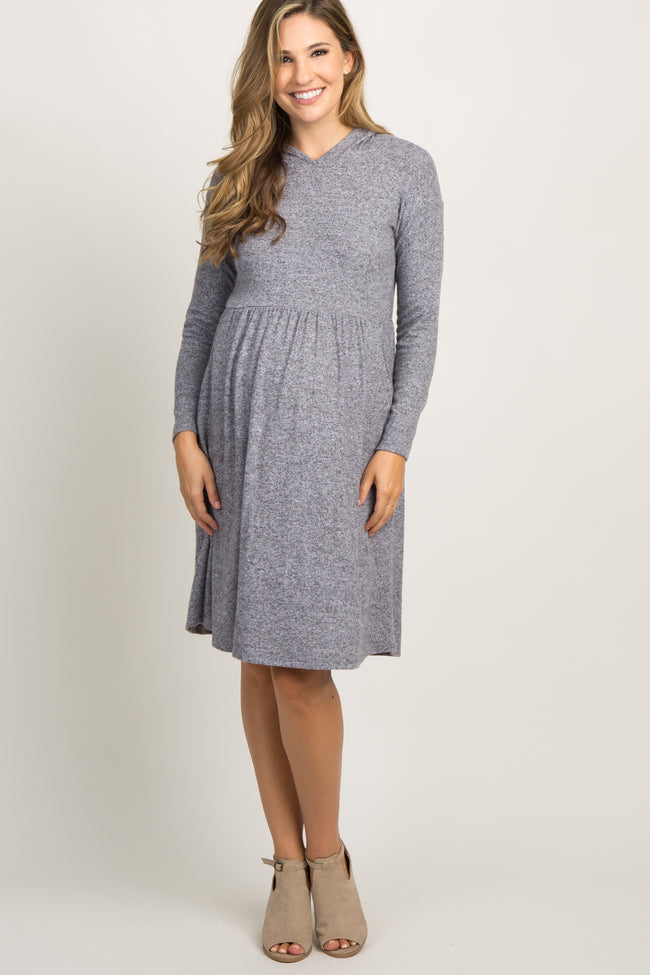 Lavender Soft Knit Hooded Maternity Dress