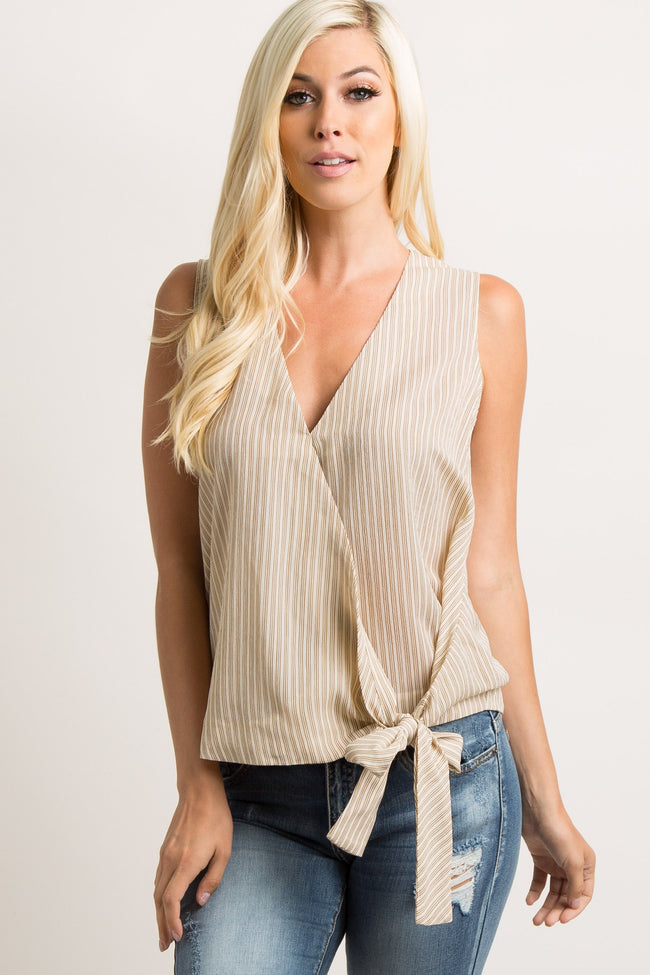 Beige Pinstriped Sleeveless Wrap Tie Top