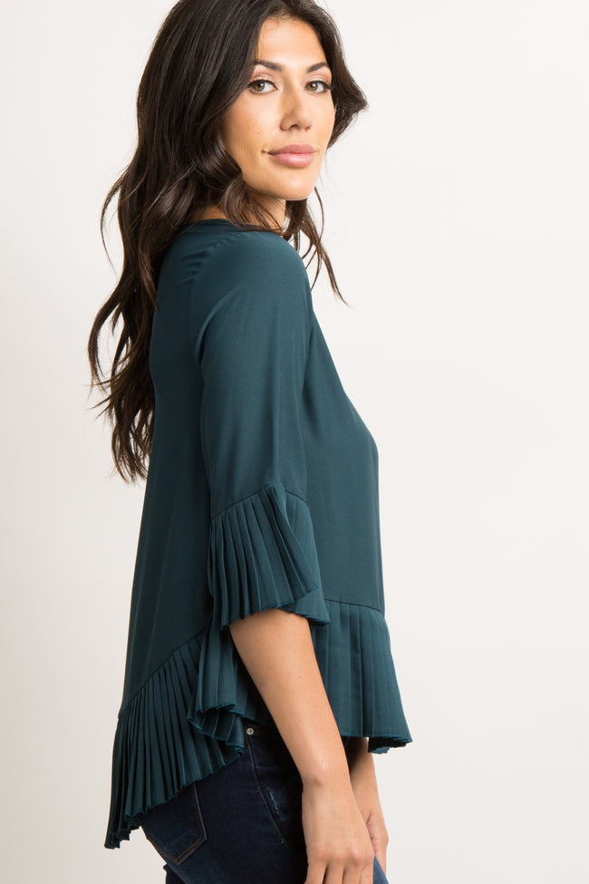 Green Solid Chiffon Pleated Trim Blouse