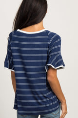 Navy Blue Striped Ruffle Sleeve Top