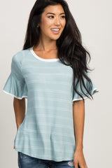 Mint Green Striped Ruffle Sleeve Maternity Top