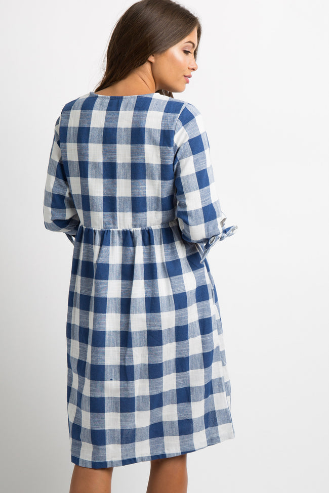 Navy Blue Gingham Bow Accent Maternity Dress