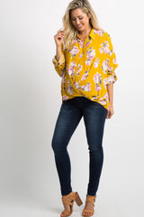 Yellow Floral Button Draped Front Maternity Blouse