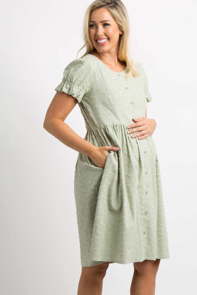 Light Olive Textured Button Puff Sleeve Maternity Dress