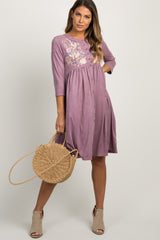 Lavender Faux Suede Embroidered Midi Dress
