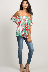 Red Striped Off the Shoulder Palm Print Top