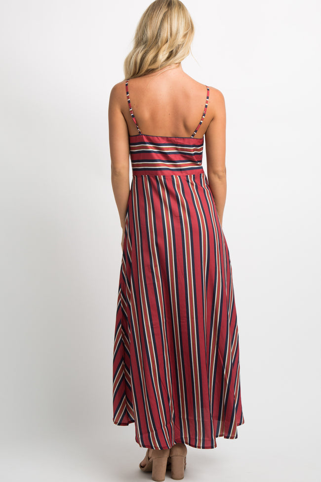 Burgundy Striped Knot Front Midi Dress