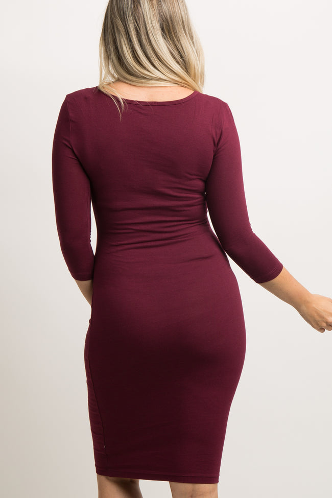 Burgundy 3/4 Sleeve Fitted Maternity Dress