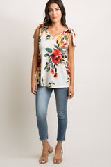Ivory Floral Shoulder Tie Tank Top
