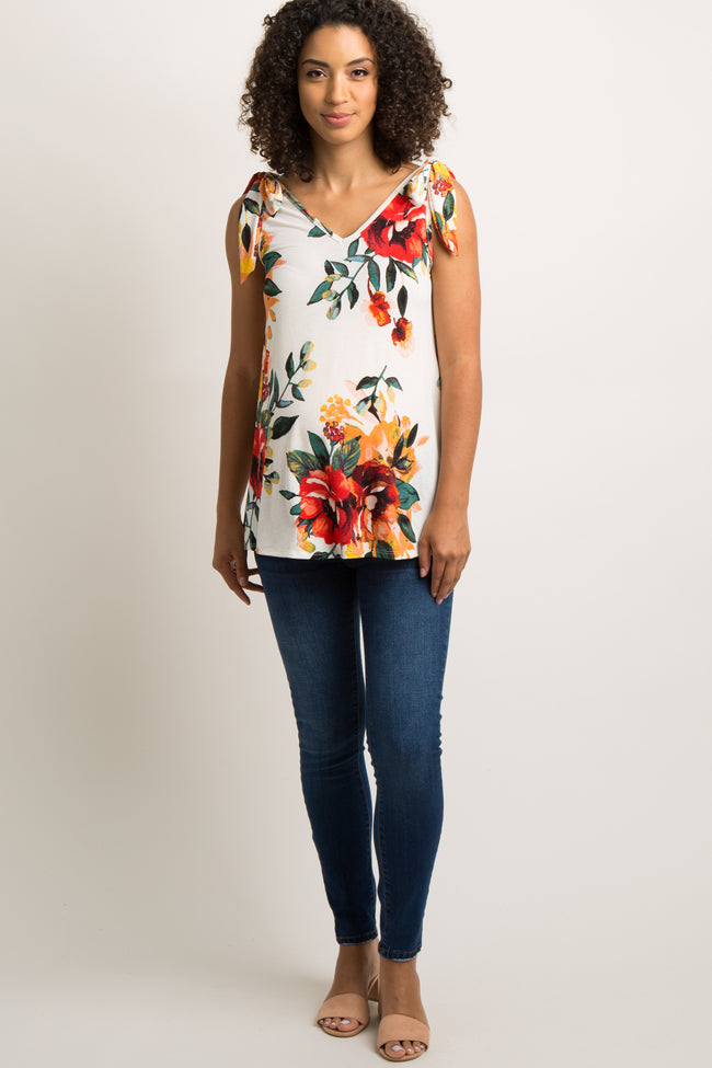 Ivory Floral Shoulder Tie Maternity Tank Top