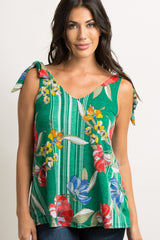 Green Striped Floral Shoulder Tie Maternity Top