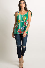 Green Striped Floral Shoulder Tie Top