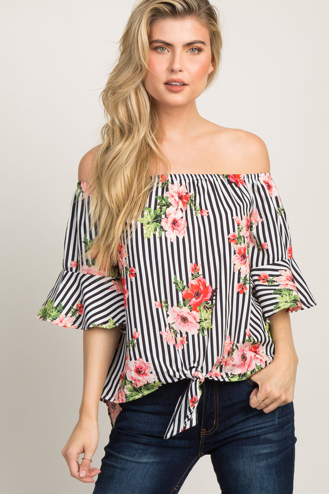 Black and White Striped Floral Off Shoulder Maternity Top