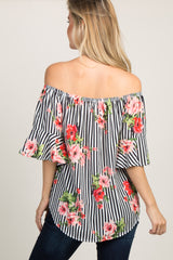 Black and White Striped Floral Off Shoulder Top