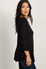 Black Basic V-Neck 3/4 Sleeve Top