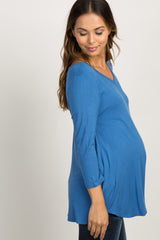 Blue Basic V-Neck 3/4 Sleeve Top