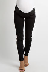 Black Side Panel Basic Maternity Jeggings
