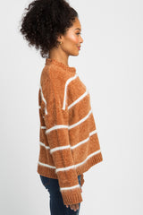 Camel Chenille Fuzzy Knit Striped Sweater
