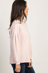 Pink Basic Puff Sleeve Sweater