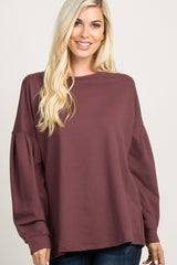 Purple Basic Puff Sleeve Maternity Sweater