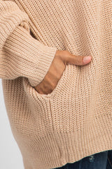 Peach Button Front Knit Cardigan