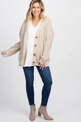 Taupe Button Front Knit Maternity Cardigan