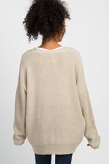 Taupe Button Front Knit Cardigan