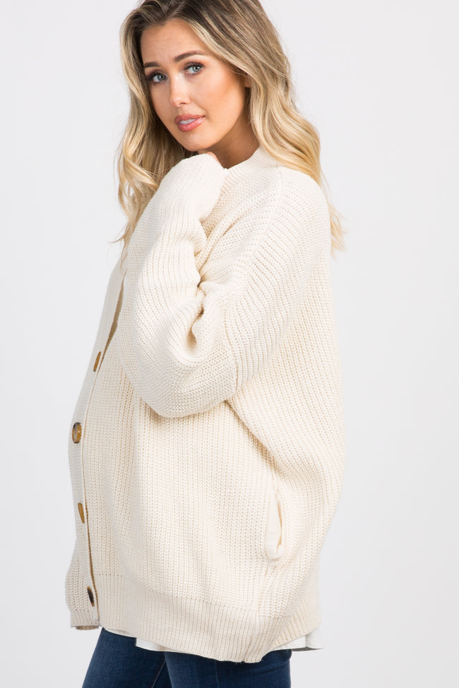 Ivory Button Front Knit Maternity Cardigan