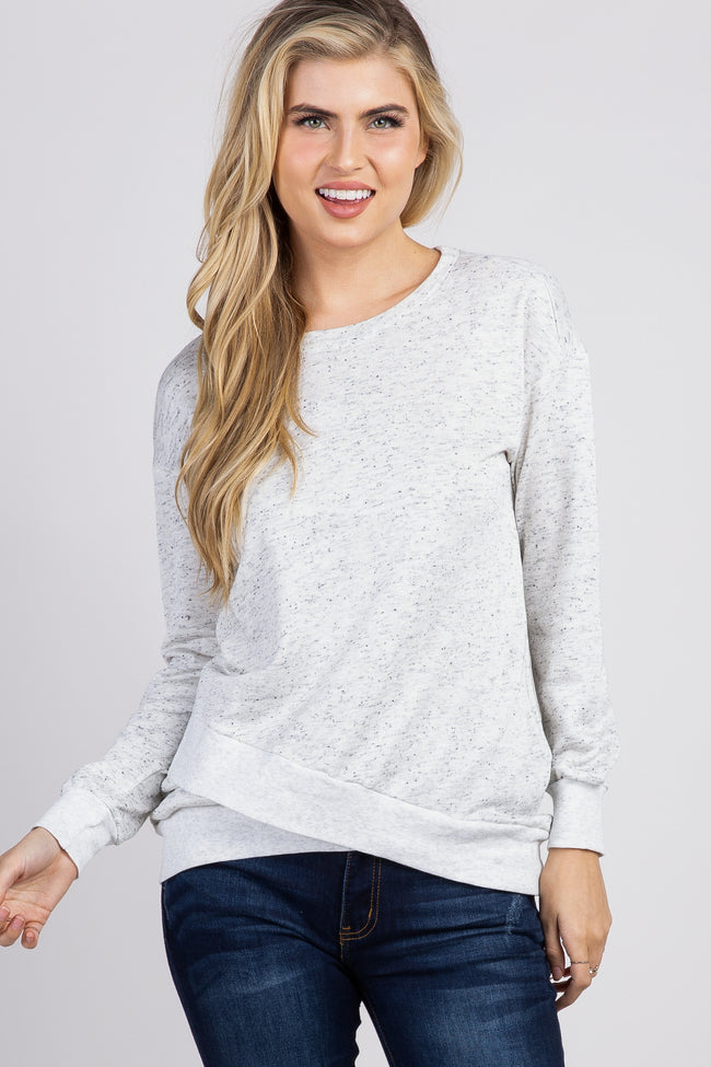 Beige Terry Wrap Hem Sweatshirt