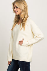Ivory V-Neck Knit Sweater