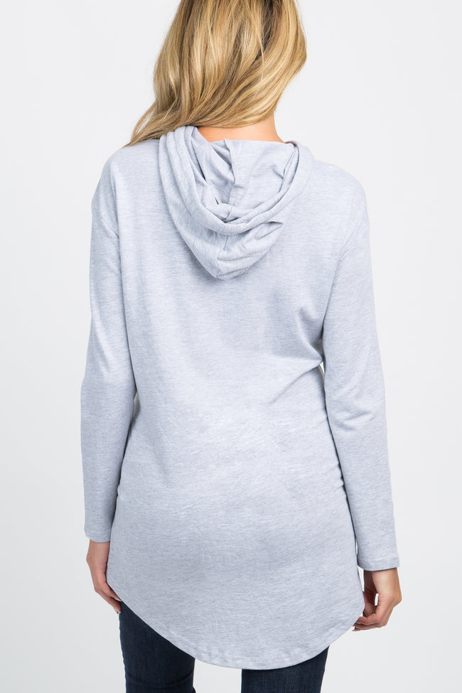 Grey Hooded Pocket Front Maternity Sweater