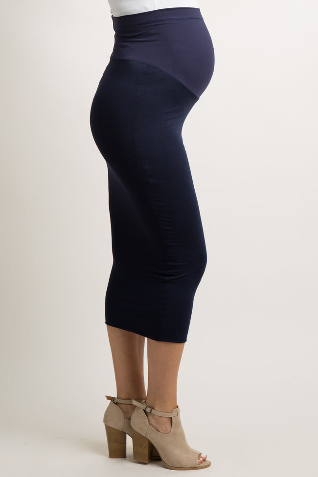 Navy Blue Solid Fitted Maternity Midi Skirt