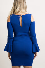Blue Cold Shoulder Bell Sleeve Fitted Maternity Dress