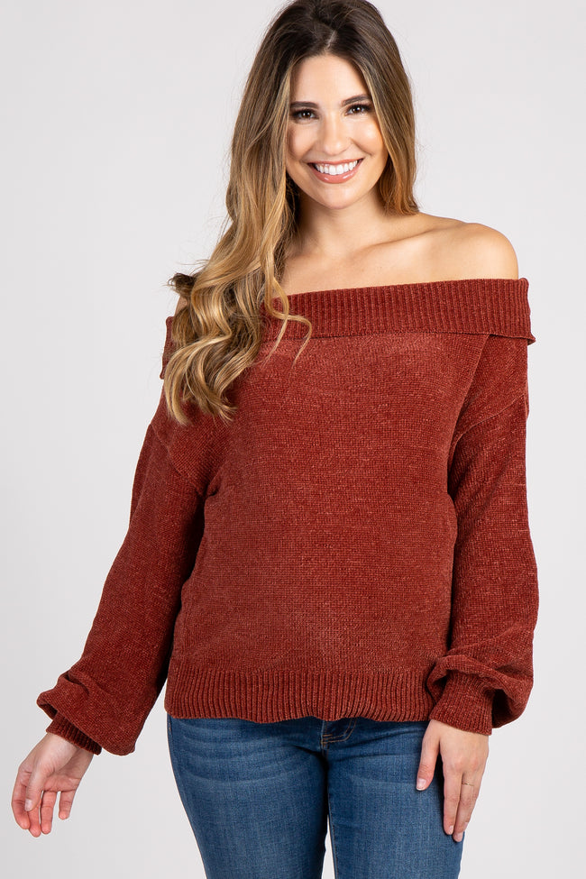 Rust Chenille Knit Off Shoulder Maternity Top – PinkBlush