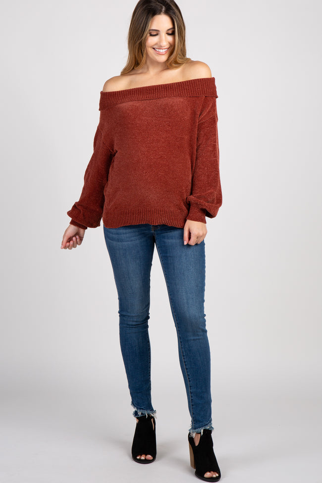 Rust Chenille Knit Off Shoulder Maternity Top