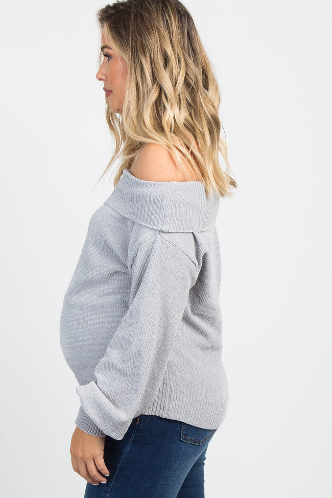 Grey Chenille Knit Off Shoulder Maternity Top