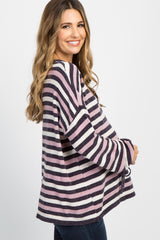 Pink Striped Chenille Sleeve Tie Maternity Sweater
