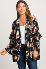 Black Floral Ruffle Sleeve Maternity Cover Up