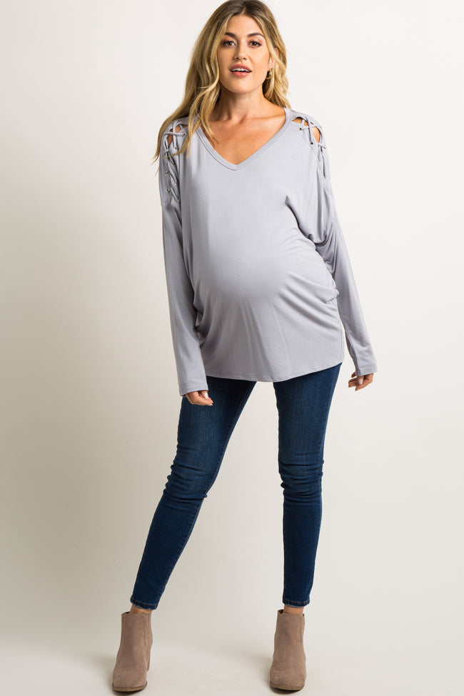 Grey Laced Dolman Sleeve Maternity Top