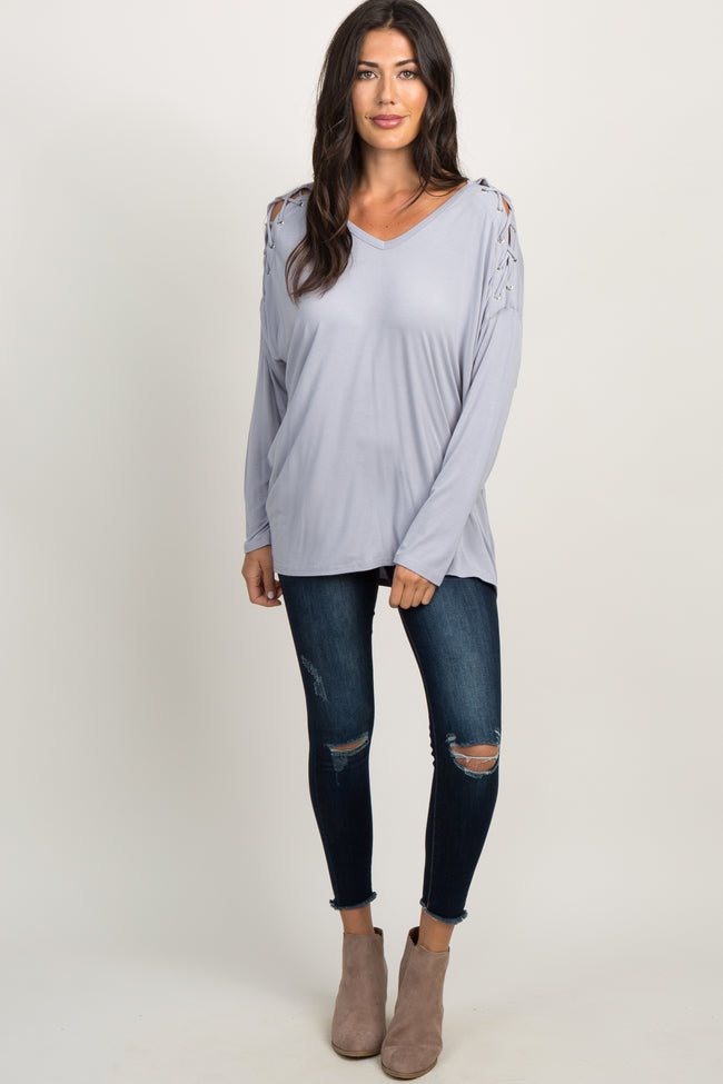 Grey Laced Dolman Sleeve Top