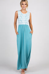 Turquoise Lace Overlay Top Maternity Maxi Dress
