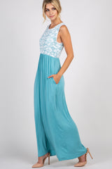 Turquoise Lace Overlay Top Maxi Dress